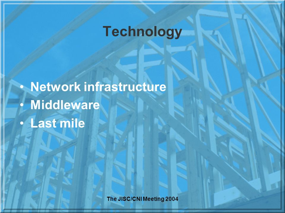 The JISC/CNI Meeting 2004 Technology Network infrastructure Middleware Last mile