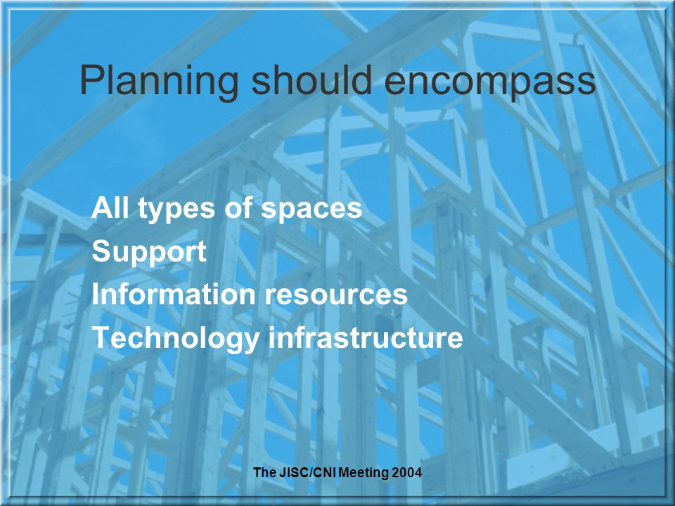The JISC/CNI Meeting 2004 Planning should encompass All types of spaces Support Information resources Technology infrastructure