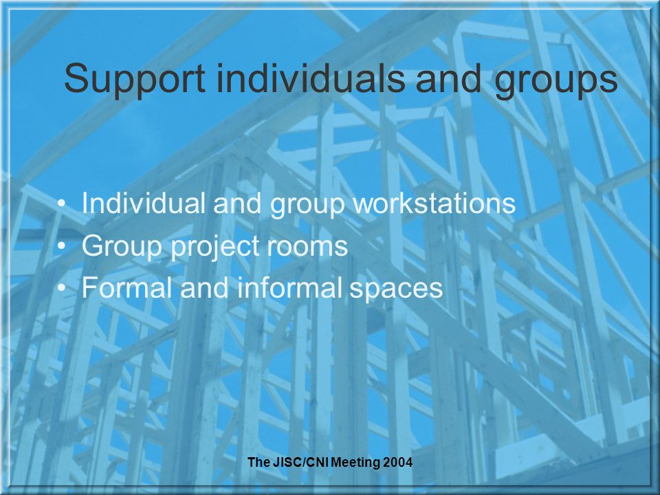 The JISC/CNI Meeting 2004 Support individuals and groups Individual and group workstations Group project rooms Formal and informal spaces
