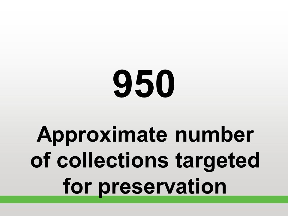 950 Approximate number of collections targeted for preservation