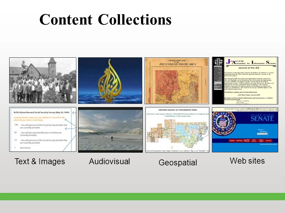 Content Collections Text & Images Audiovisual Geospatial Web sites