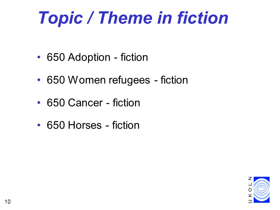 10 Topic / Theme in fiction 650 Adoption - fiction 650 Women refugees - fiction 650 Cancer - fiction 650 Horses - fiction