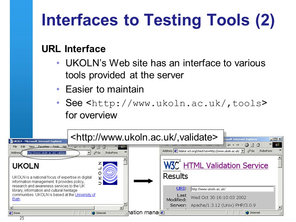 A centre of expertise in digital information managementwww.ukoln.ac.uk 25 Interfaces to Testing Tools (2) URL Interface UKOLNs Web site has an interface to various tools provided at the server Easier to maintain See for overview