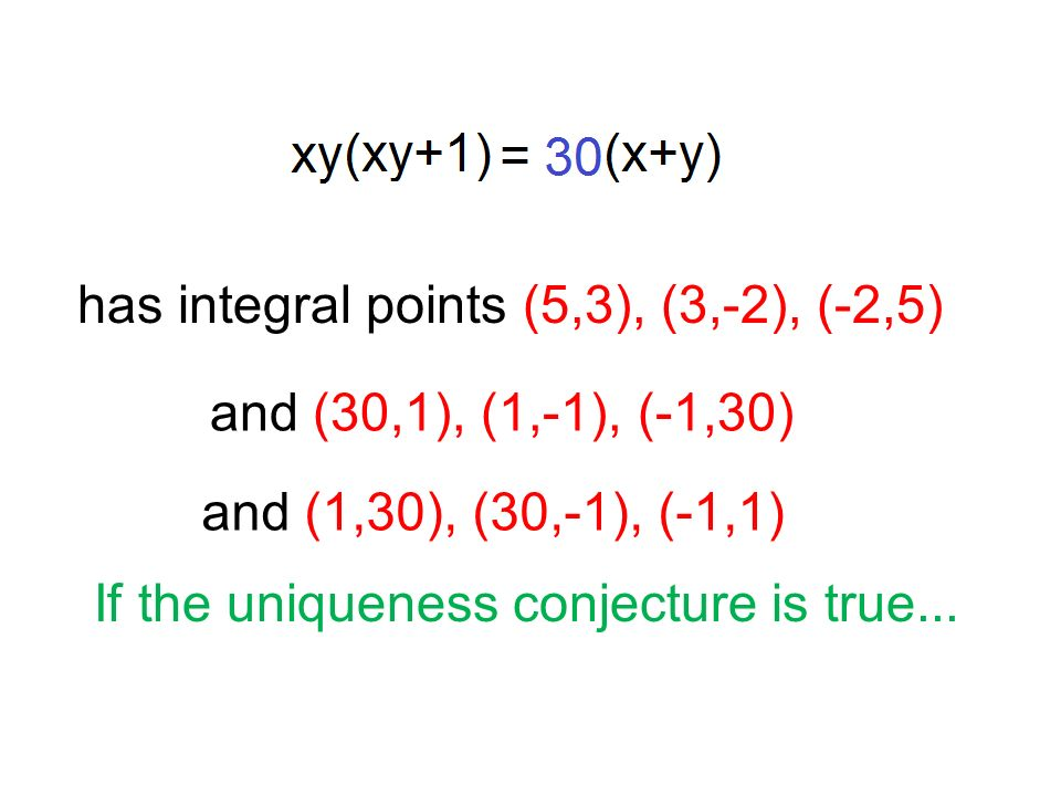 has integral points (5,3), (3,-2), (-2,5) If the uniqueness conjecture is true...