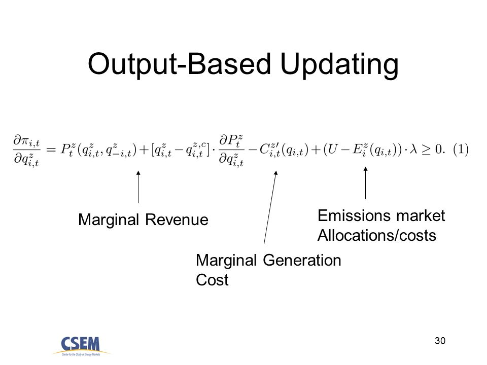 30 Output-Based Updating Marginal Revenue Marginal Generation Cost Emissions market Allocations/costs