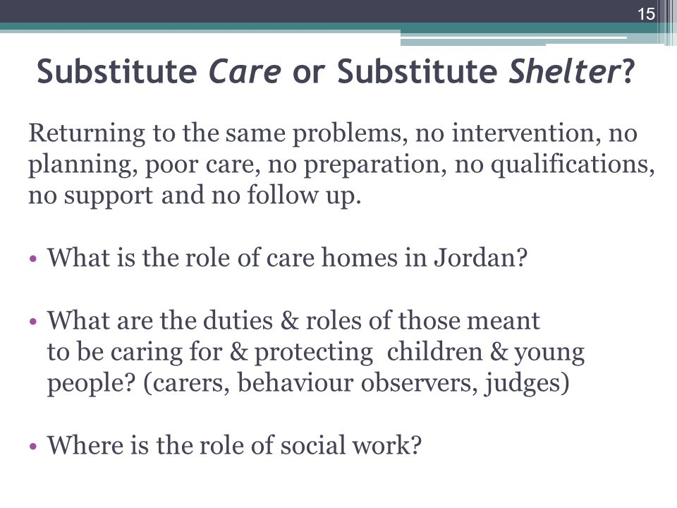 15 Substitute Care or Substitute Shelter.