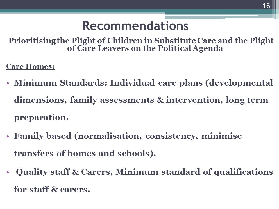 16 Recommendations Prioritising the Plight of Children in Substitute Care and the Plight of Care Leavers on the Political Agenda Care Homes: Minimum Standards: Individual care plans (developmental dimensions, family assessments & intervention, long term preparation.