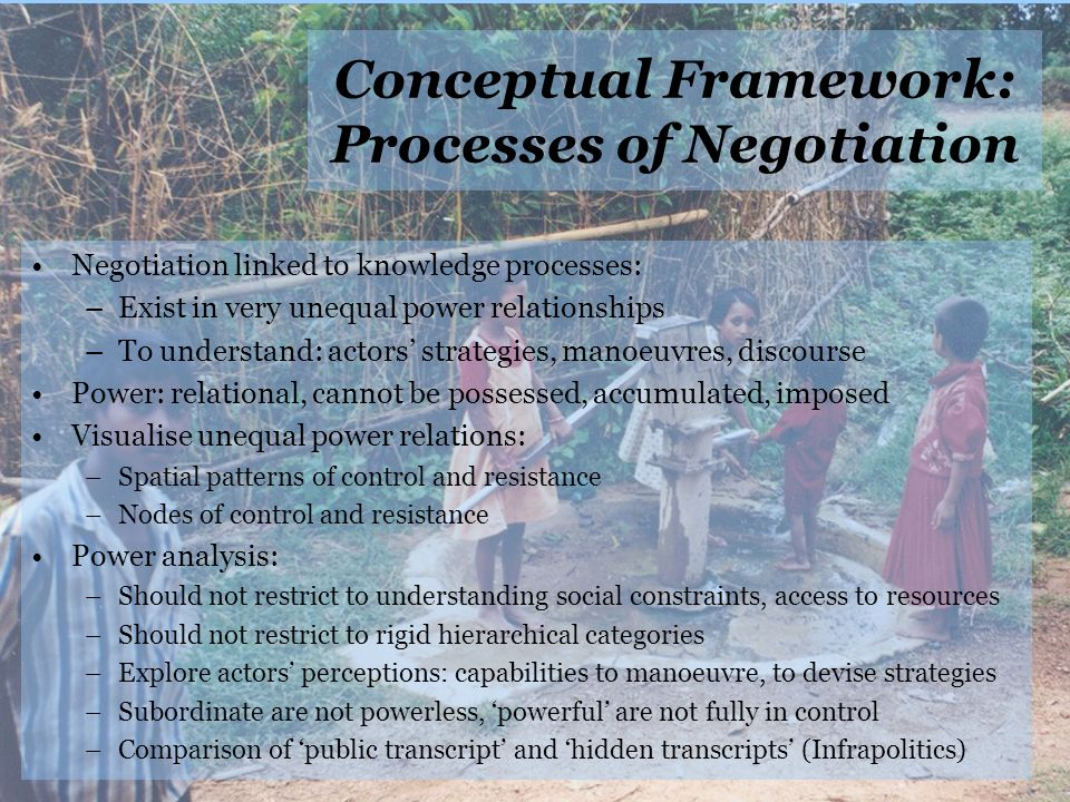 Conceptual Framework: Processes of Negotiation Negotiation linked to knowledge processes: –Exist in very unequal power relationships –To understand: actors strategies, manoeuvres, discourse Power: relational, cannot be possessed, accumulated, imposed Visualise unequal power relations: –Spatial patterns of control and resistance –Nodes of control and resistance Power analysis: –Should not restrict to understanding social constraints, access to resources –Should not restrict to rigid hierarchical categories –Explore actors perceptions: capabilities to manoeuvre, to devise strategies –Subordinate are not powerless, powerful are not fully in control –Comparison of public transcript and hidden transcripts (Infrapolitics)