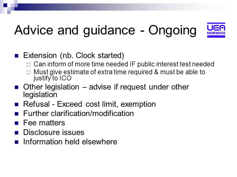 Advice and guidance - Ongoing Extension (nb.