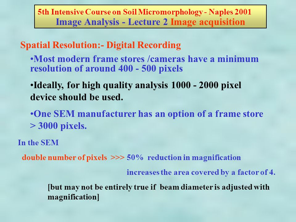 Most modern frame stores /cameras have a minimum resolution of around 400 - 500 pixels Ideally, for high quality analysis 1000 - 2000 pixel device should be used.