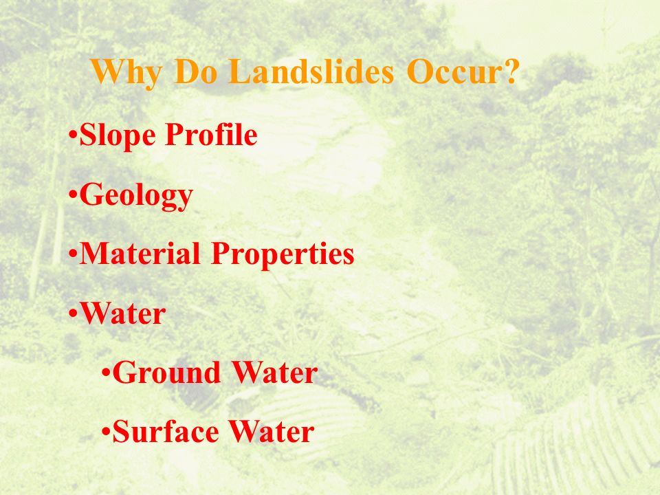 Why Do Landslides Occur Slope Profile Geology Material Properties Water Ground Water Surface Water