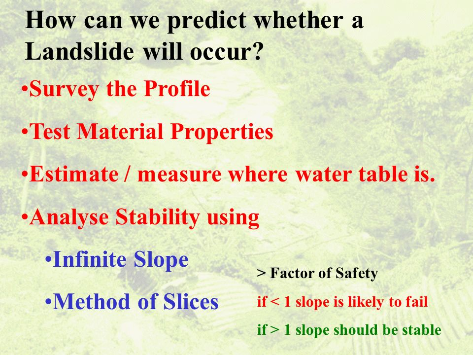 Survey the Profile Test Material Properties Estimate / measure where water table is.