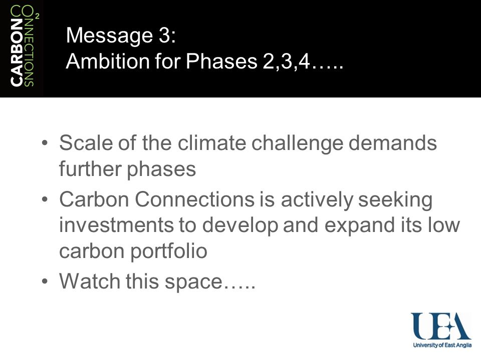 Message 3: Ambition for Phases 2,3,4…..