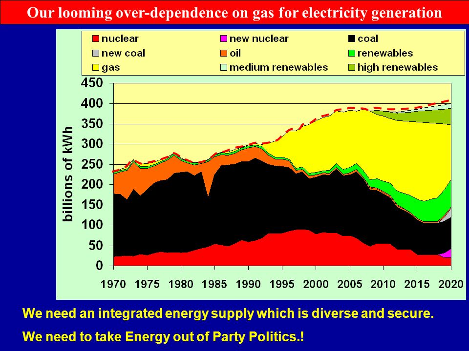 Our looming over-dependence on gas for electricity generation We need an integrated energy supply which is diverse and secure.