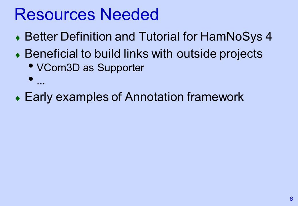 6 Resources Needed Better Definition and Tutorial for HamNoSys 4 Beneficial to build links with outside projects VCom3D as Supporter...