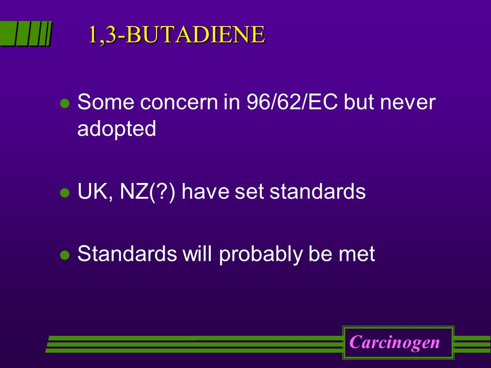 1,3-BUTADIENE l Some concern in 96/62/EC but never adopted l UK, NZ( ) have set standards l Standards will probably be met Carcinogen