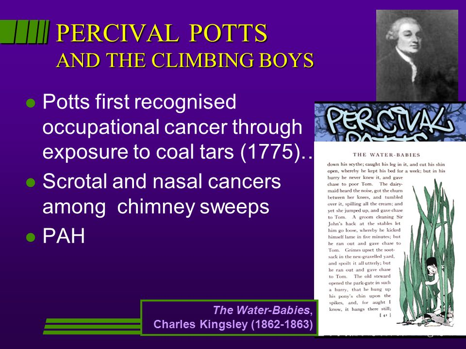 PERCIVAL POTTS AND THE CLIMBING BOYS l Potts first recognised occupational cancer through exposure to coal tars (1775)… l Scrotal and nasal cancers among chimney sweeps l PAH The Water-Babies, Charles Kingsley ( )