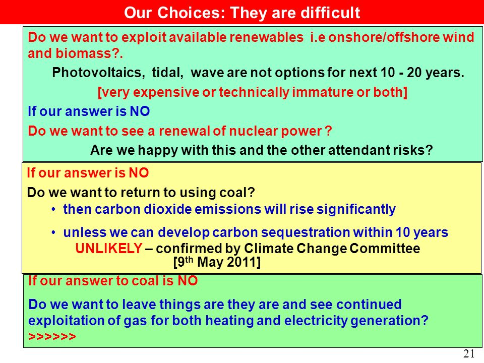 21 Do we want to exploit available renewables i.e onshore/offshore wind and biomass .