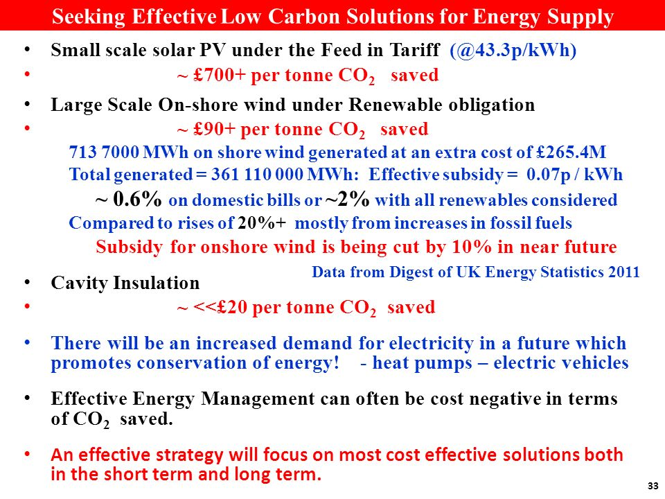 33 Seeking Effective Low Carbon Solutions for Energy Supply Small scale solar PV under the Feed in Tariff (@43.3p/kWh) ~ £700+ per tonne CO 2 saved Large Scale On-shore wind under Renewable obligation ~ £90+ per tonne CO 2 saved 713 7000 MWh on shore wind generated at an extra cost of £265.4M Total generated = 361 110 000 MWh: Effective subsidy = 0.07p / kWh ~ 0.6% on domestic bills or ~2% with all renewables considered Compared to rises of 20%+ mostly from increases in fossil fuels Subsidy for onshore wind is being cut by 10% in near future Cavity Insulation ~ <<£20 per tonne CO 2 saved There will be an increased demand for electricity in a future which promotes conservation of energy.