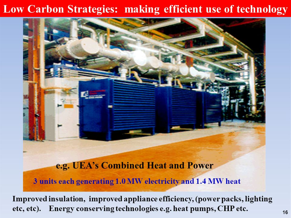 Low Carbon Strategies: making efficient use of technology 3 units each generating 1.0 MW electricity and 1.4 MW heat 16 e.g.