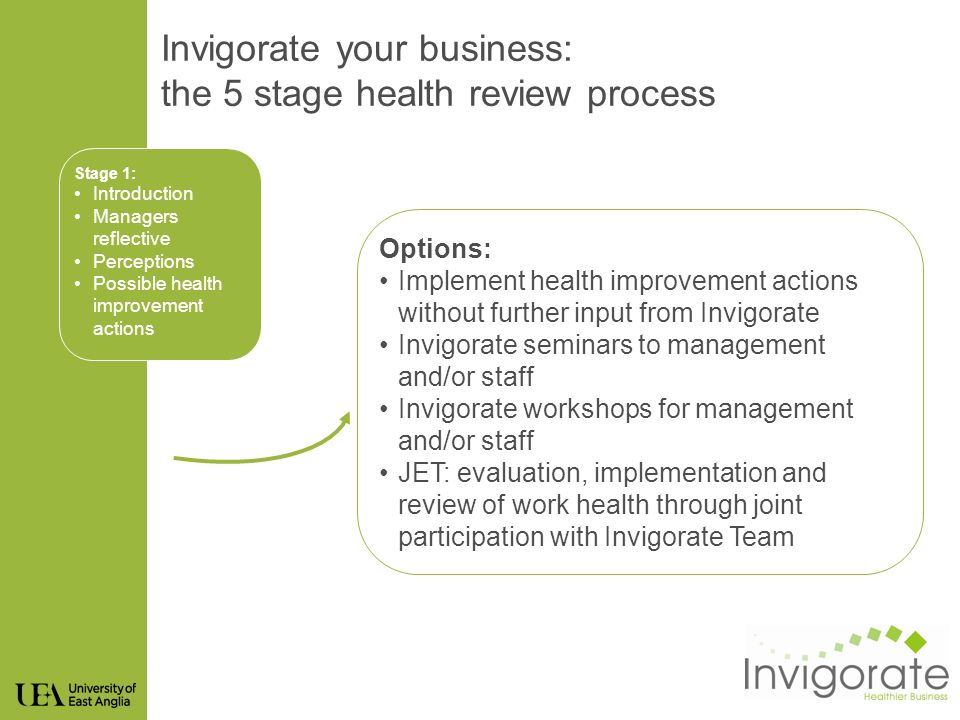 Stage 1: Introduction Managers reflective Perceptions Possible health improvement actions Options: Implement health improvement actions without further input from Invigorate Invigorate seminars to management and/or staff Invigorate workshops for management and/or staff JET: evaluation, implementation and review of work health through joint participation with Invigorate Team Invigorate your business: the 5 stage health review process