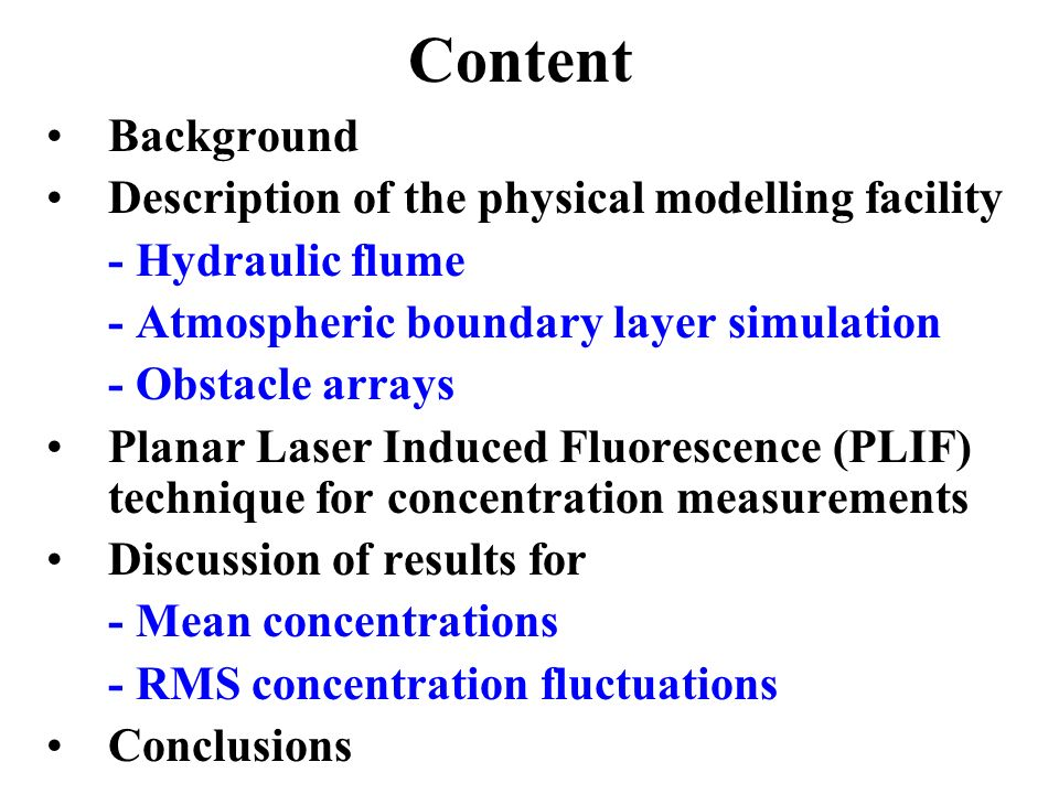 Physical Modelling of Concentration Fluctuations in Simple Obstacle Arrays Robert Macdonald and Brian Kim Department of Mechanical Engineering University of Waterloo, Ontario, Canada Eric Savory Department of Mechanical and Materials Engineering University of Western Ontario, Canada Miho Horie and Shiki Okamoto Shibaura Institute of Technology, Tokyo, Japan Presented at NATO ASI, May 2004