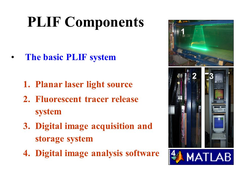 Optical Measurement using Planar Laser Induced Fluorescence (PLIF) 38 33 27 27 58 38 30 33 23 15 57 47 41 35 25 5 56 46 40 35 25 13 58 48 40 33 23 11 55 45 37 28 18 17 57 77 71 65 67 55 76 76 70 65 65 53 78 78 70 63 63 61 75 75 77 68 58 57 95 95 83 99 99 93 81 97 98 98 87 Digital CCD camera - Whole field measurement Indirect measurement - Using dye (as tracer) Non-intrusive - Optical technique