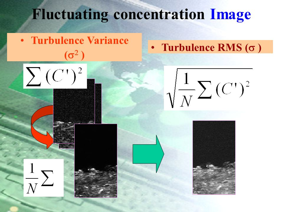 Fluctuating concentrations: = - Fluctuating Concentration ( C ) Instantaneous Concentration ( C ) Mean Concentration ( C ) = - Average ImageInstantaneous ImageTurbulence Image Turbulent Image Manipulation