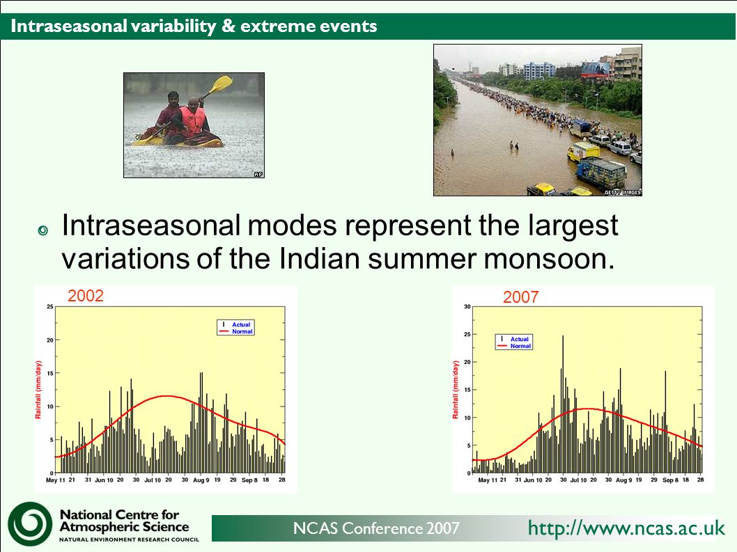 http://www.ncas.ac.uk NCAS Conference 2007 Intraseasonal variability & extreme events Intraseasonal modes represent the largest variations of the Indian summer monsoon.