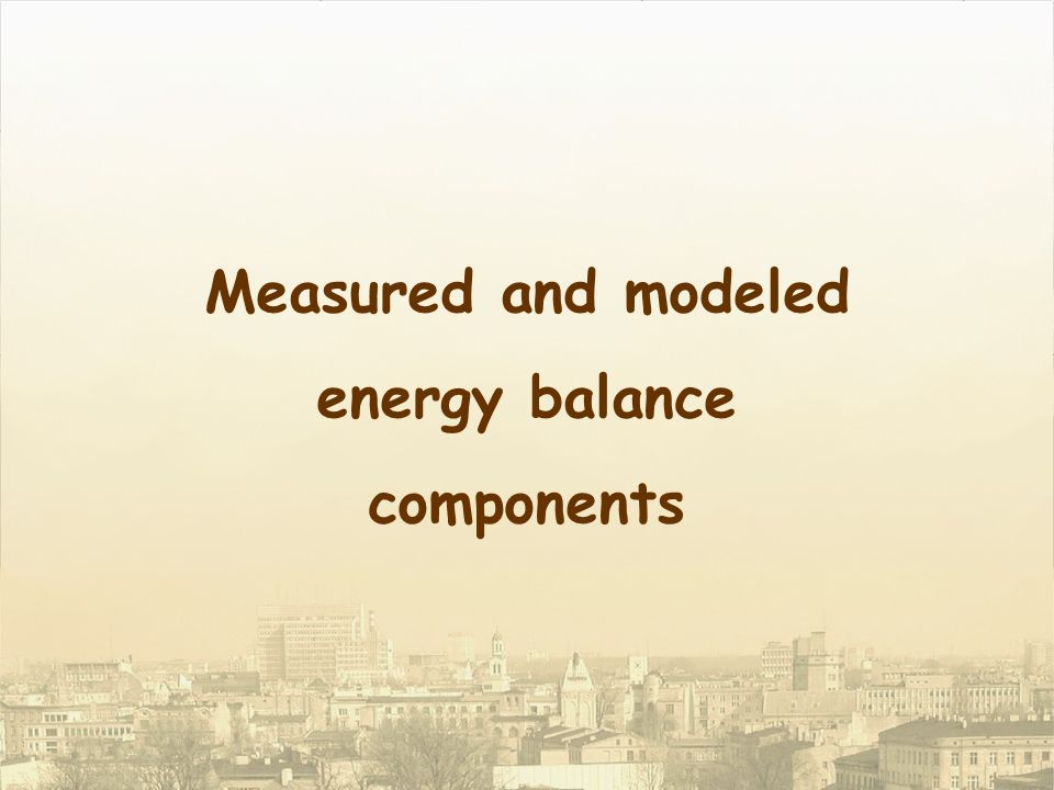 Measured and modeled energy balance components