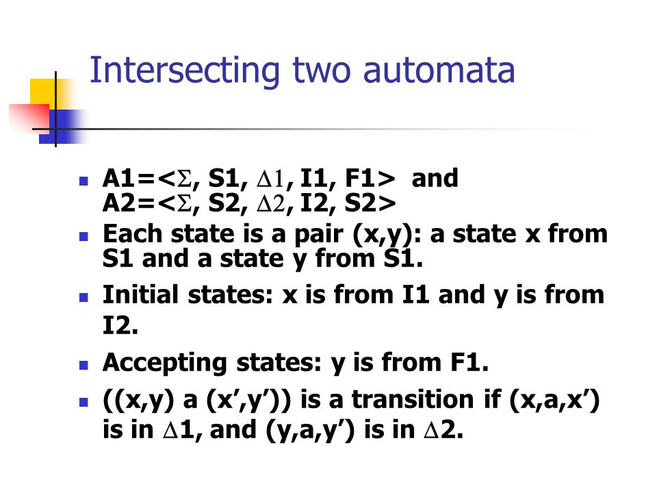 Intersecting two automata A1= and A2= Each state is a pair (x,y): a state x from S1 and a state y from S1.