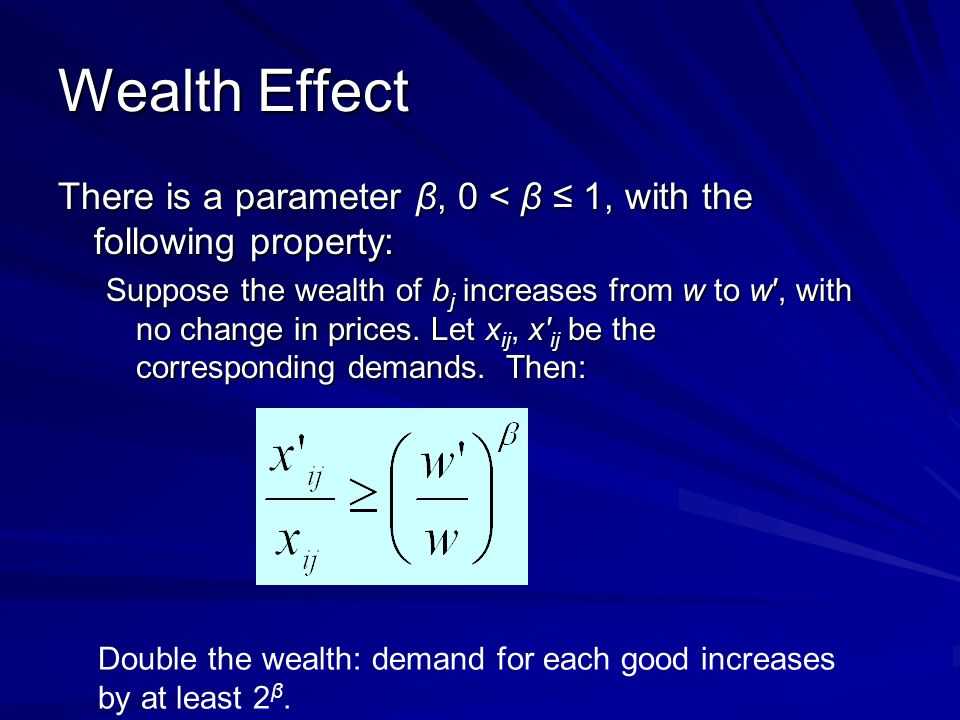 Wealth Effect There is a parameter β, 0 < β 1, with the following property: Suppose the wealth of b j increases from w to w, with no change in prices.
