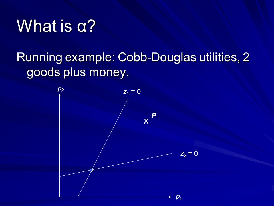 What is α. Running example: Cobb-Douglas utilities, 2 goods plus money.