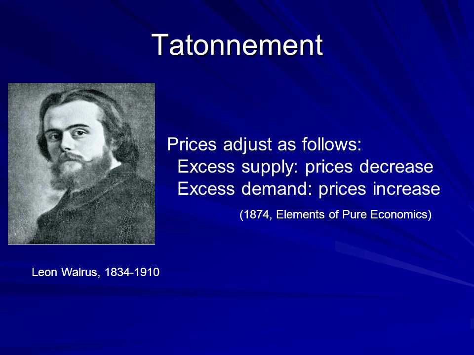 Tatonnement Leon Walrus, 1834-1910 Prices adjust as follows: Excess supply: prices decrease Excess demand: prices increase (1874, Elements of Pure Economics)