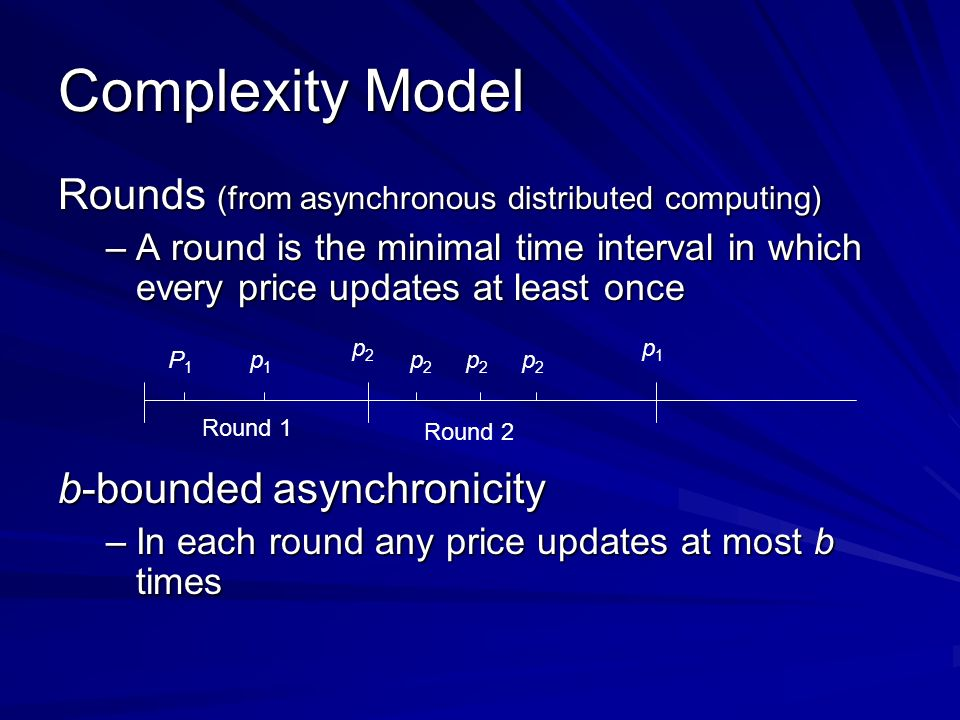 Complexity Model Rounds (from asynchronous distributed computing) –A round is the minimal time interval in which every price updates at least once b-bounded asynchronicity –In each round any price updates at most b times Round 1 Round 2 p1p1 P1P1 p2p2 p2p2 p2p2 p2p2 p1p1