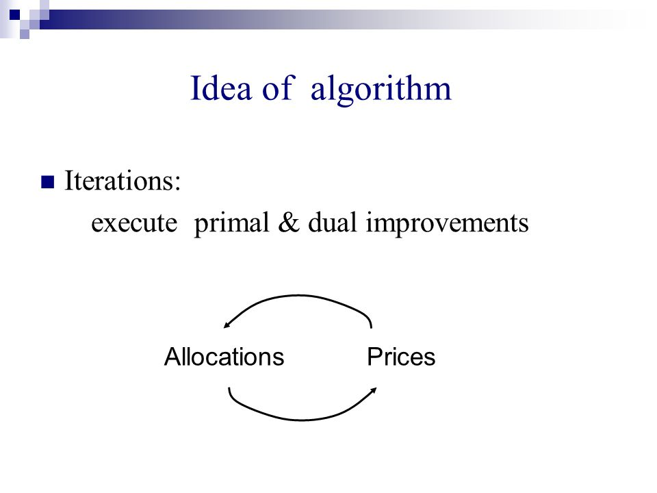 Idea of algorithm Iterations: execute primal & dual improvements Allocations Prices