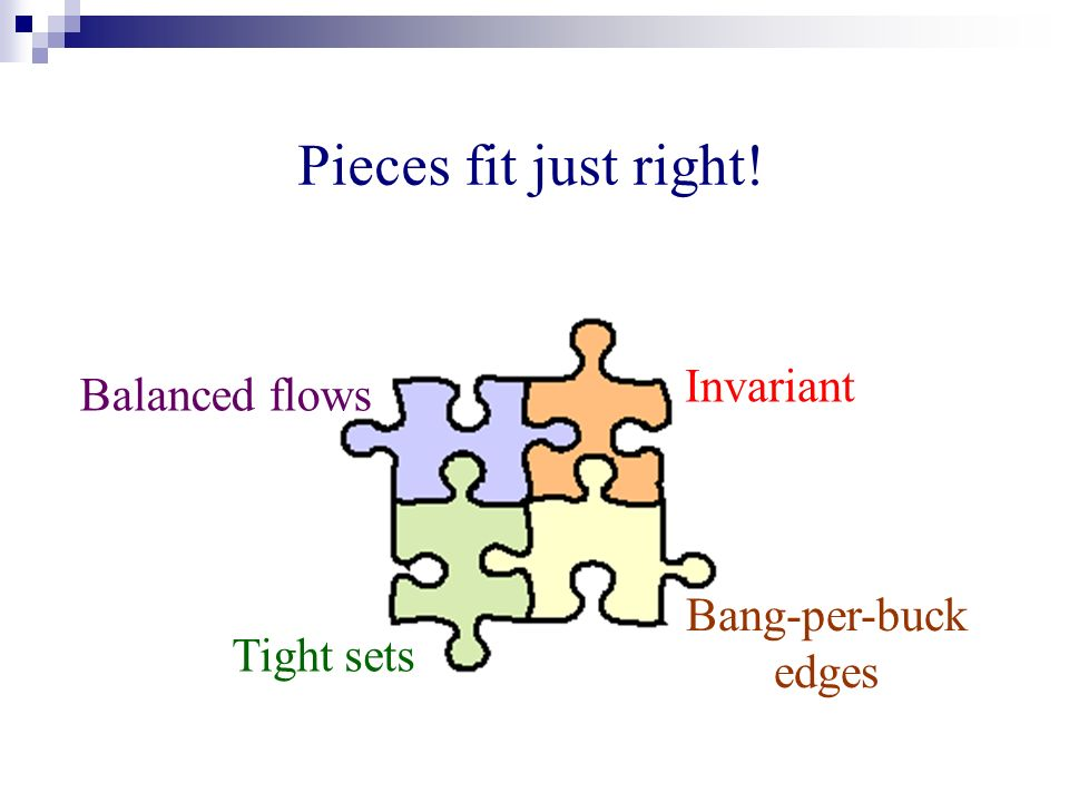 Pieces fit just right! Balanced flows Invariant Bang-per-buck edges Tight sets