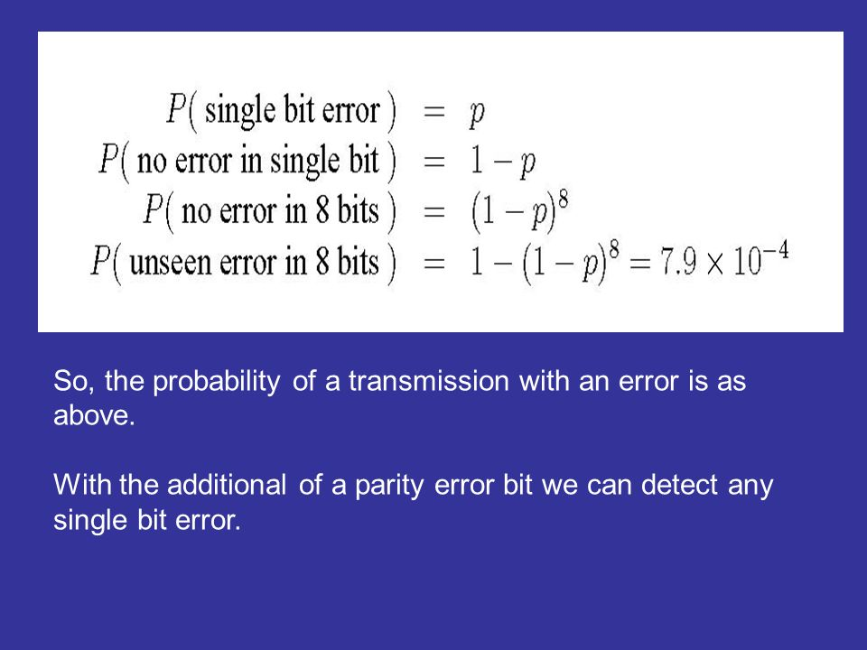 So, the probability of a transmission with an error is as above.