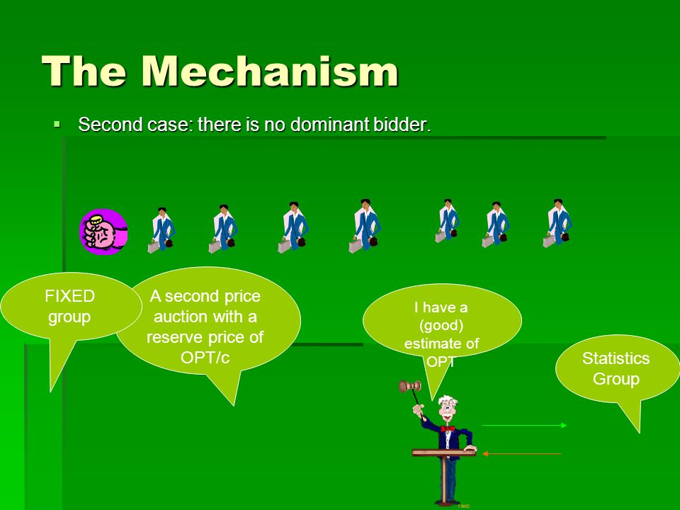 The Mechanism Second case: there is no dominant bidder.