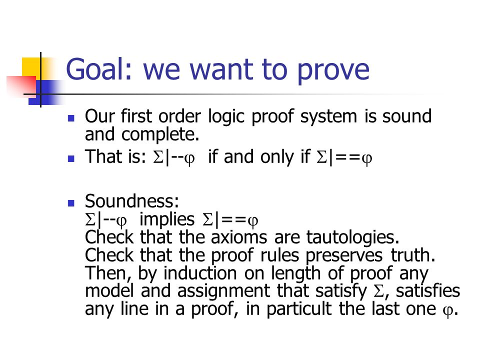 Goal: we want to prove Our first order logic proof system is sound and complete.