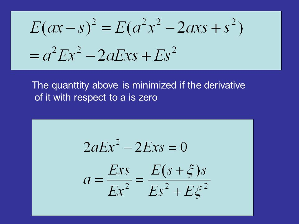 The quanttity above is minimized if the derivative of it with respect to a is zero