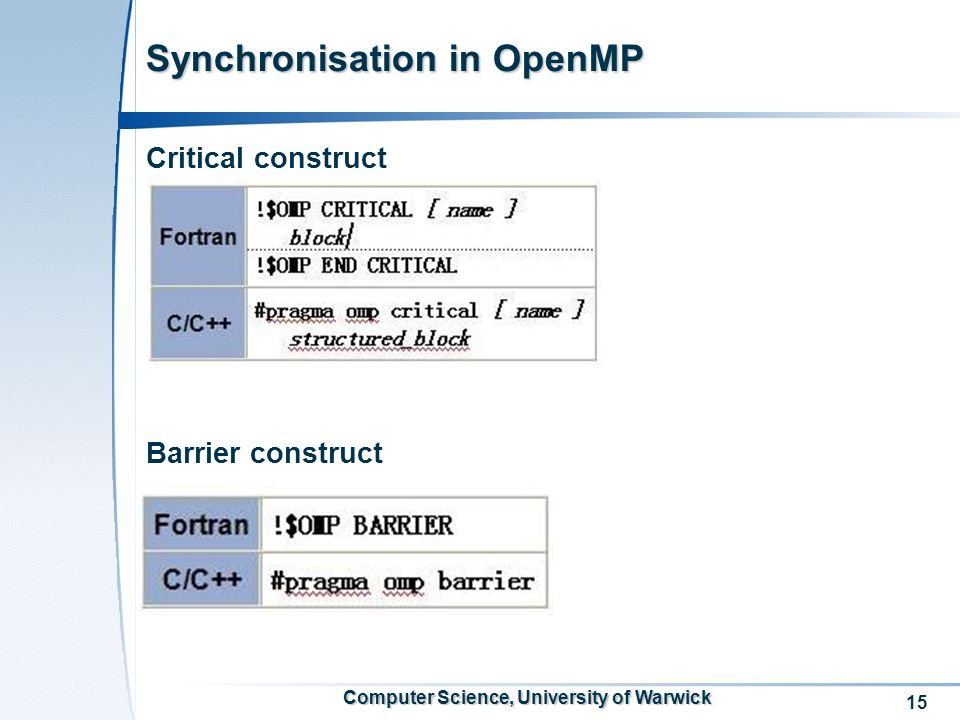 15 Computer Science, University of Warwick Synchronisation in OpenMP Critical construct Barrier construct