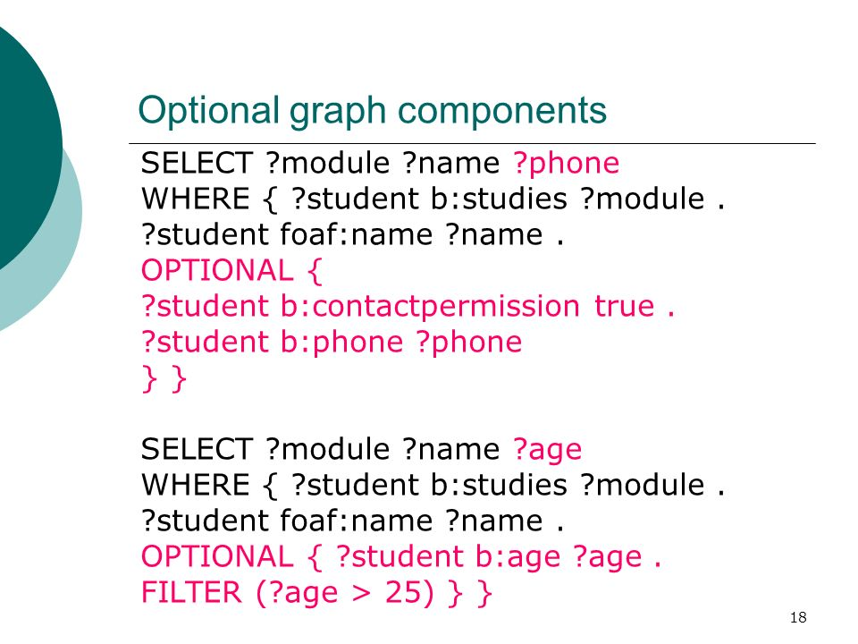 18 Optional graph components SELECT module name phone WHERE { student b:studies module.