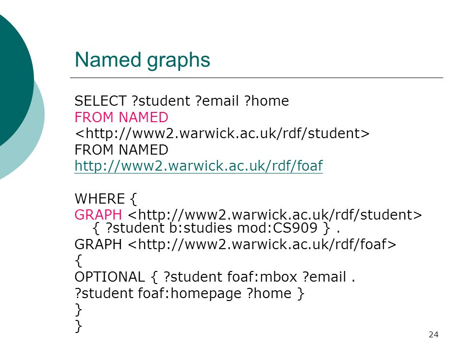 24 Named graphs SELECT student email home FROM NAMED FROM NAMED http://www2.warwick.ac.uk/rdf/foaf WHERE { GRAPH { student b:studies mod:CS909 }.