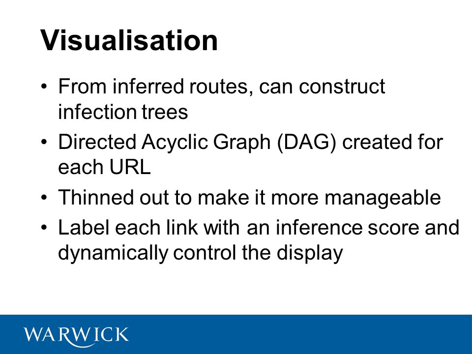 Visualisation From inferred routes, can construct infection trees Directed Acyclic Graph (DAG) created for each URL Thinned out to make it more manageable Label each link with an inference score and dynamically control the display
