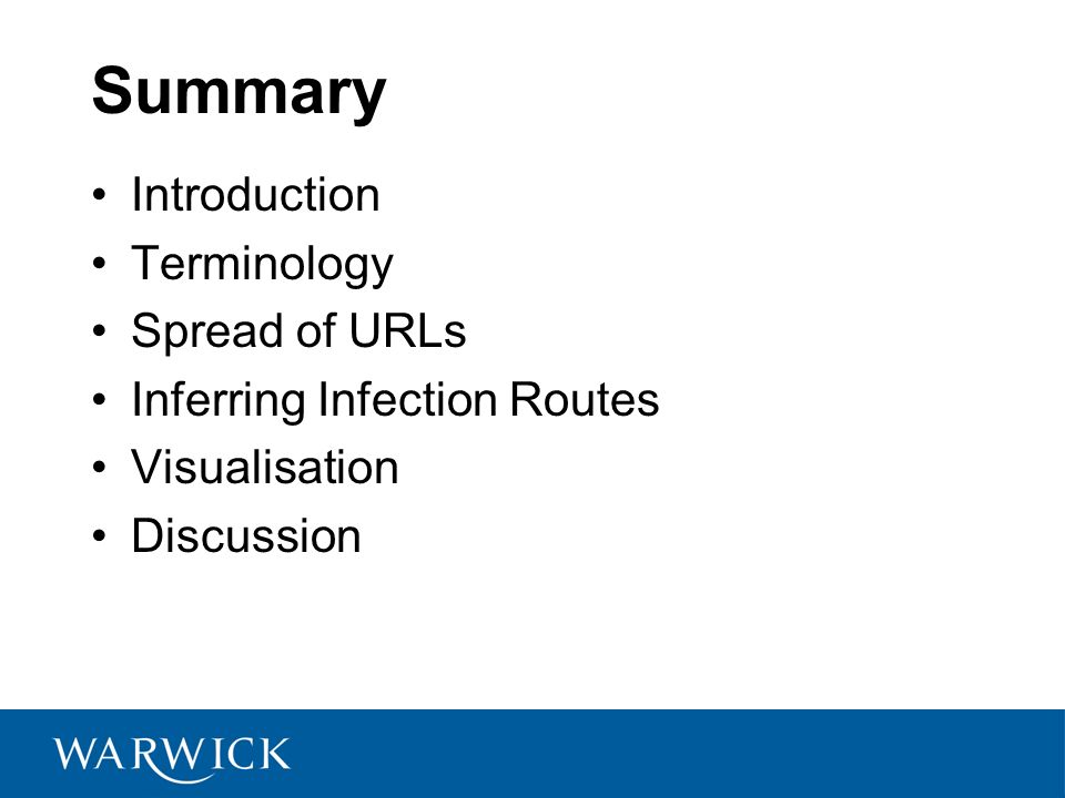 Summary Introduction Terminology Spread of URLs Inferring Infection Routes Visualisation Discussion