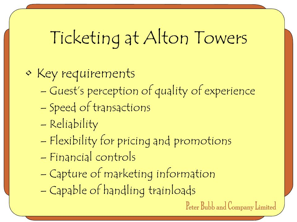 Ticketing at Alton Towers Key requirements –Guests perception of quality of experience –Speed of transactions –Reliability –Flexibility for pricing and promotions –Financial controls –Capture of marketing information –Capable of handling trainloads