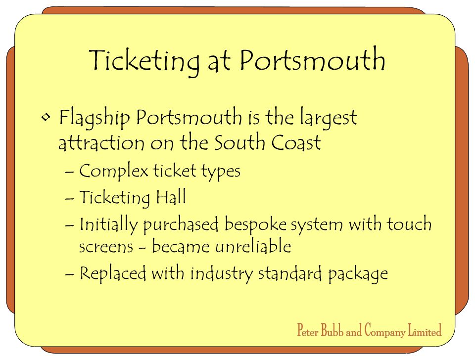 Ticketing at Portsmouth Flagship Portsmouth is the largest attraction on the South Coast –Complex ticket types –Ticketing Hall –Initially purchased bespoke system with touch screens - became unreliable –Replaced with industry standard package