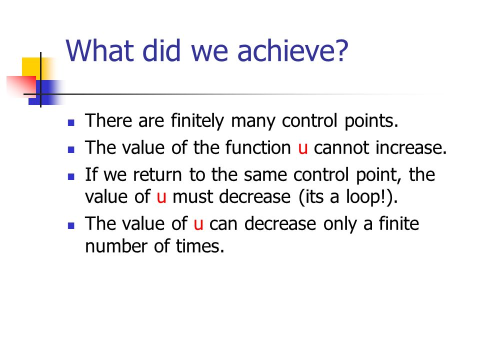 What did we achieve. There are finitely many control points.