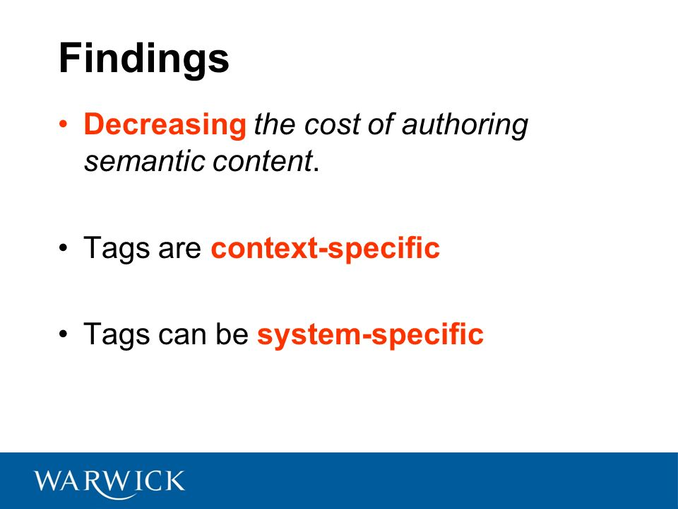 Findings Decreasing the cost of authoring semantic content.